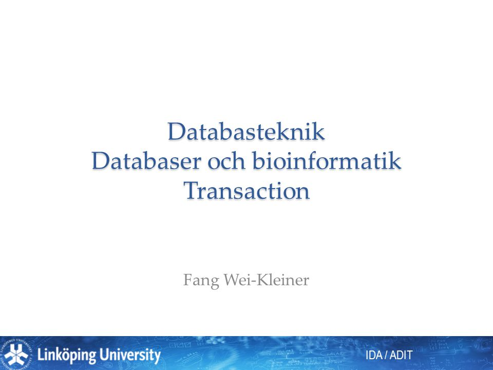 IDA / ADIT Databasteknik Databaser och bioinformatik Transaction Fang Wei-Kleiner