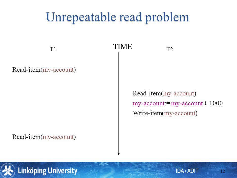 IDA / ADIT 12 Unrepeatable read problem T1T2 Read-item(my-account) my-account:= my-account + 1000 TIME Read-item(my-account) Write-item(my-account)