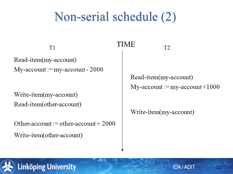 IDA / ADIT 22 Non-serial schedule (2) T1T2 Read-item(my-account) My-account := my-account - 2000 Write-item(my-account) Read-item(other-account) Other-account := other-account + 2000 Write-item(other-account) Read-item(my-account) My-account := my-account +1000 Write-item(my-account) TIME