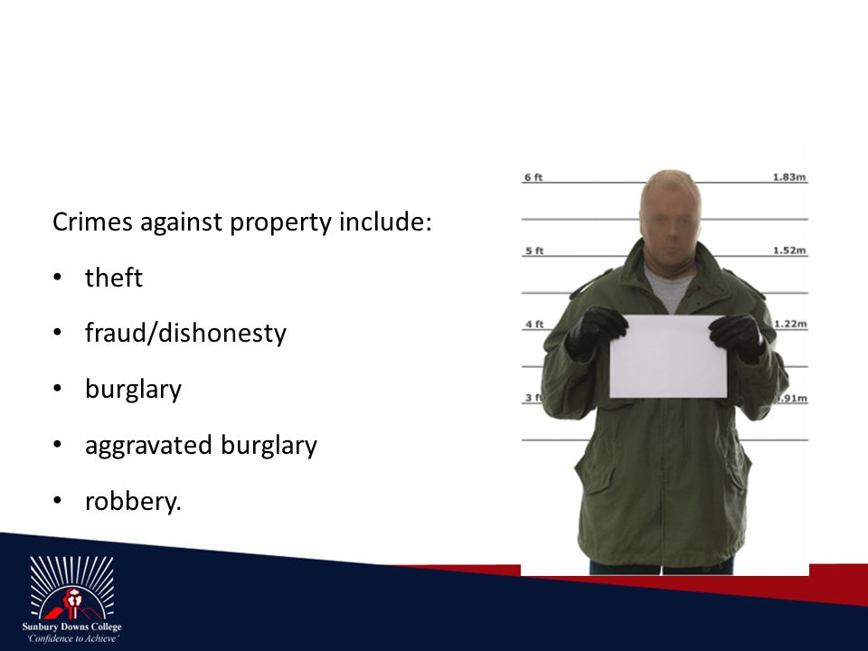 Crimes against property include: theft fraud/dishonesty burglary aggravated burglary robbery.