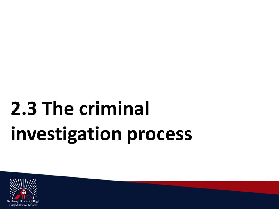 2.3 The criminal investigation process