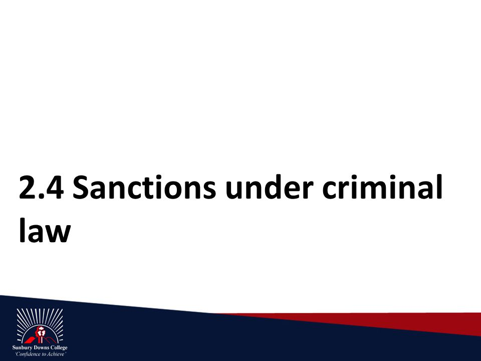 2.4 Sanctions under criminal law