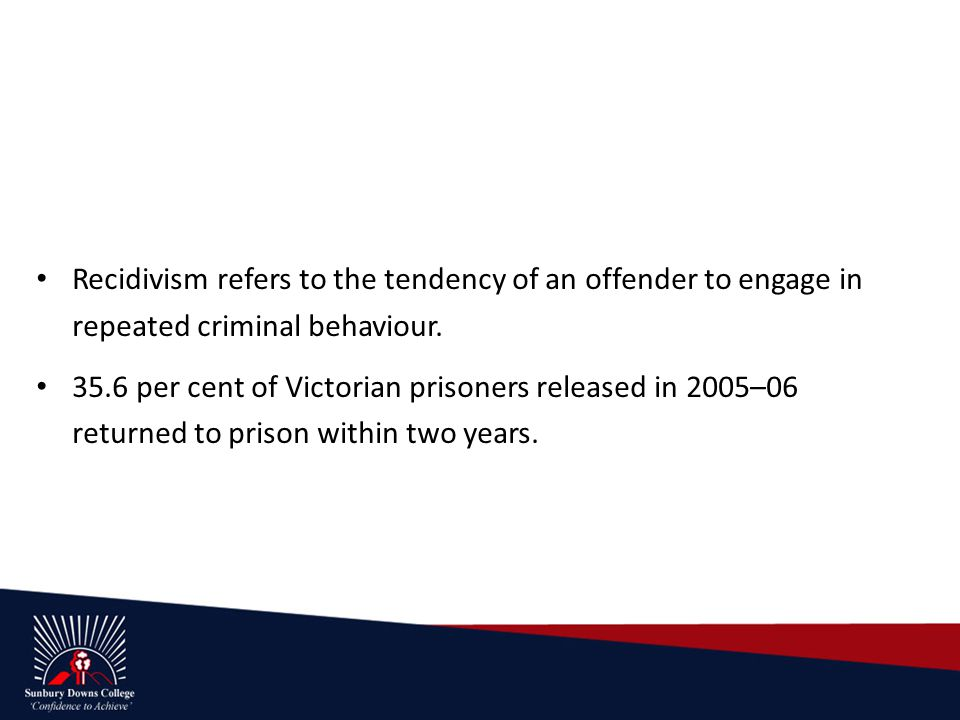 Recidivism refers to the tendency of an offender to engage in repeated criminal behaviour.