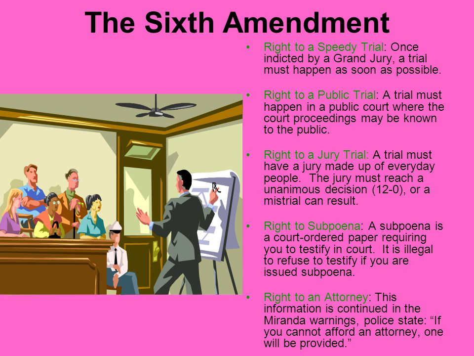 The Sixth Amendment Right to a Speedy Trial: Once indicted by a Grand Jury, a trial must happen as soon as possible.