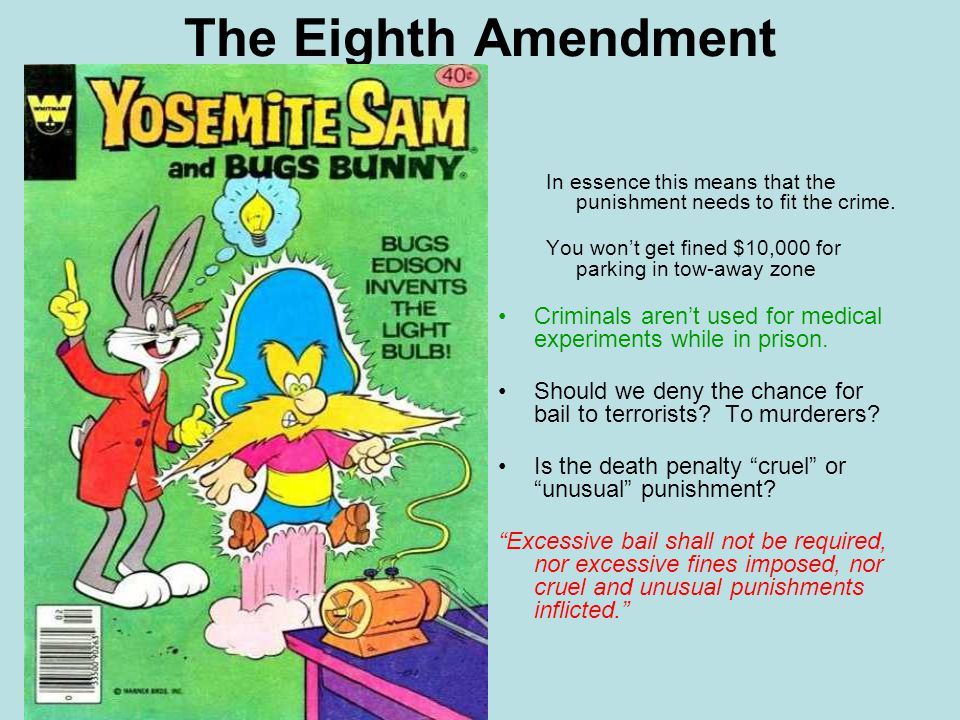 The Eighth Amendment In essence this means that the punishment needs to fit the crime.