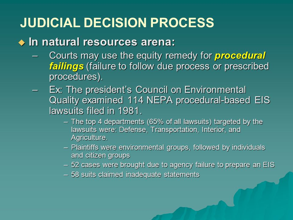  In natural resources arena: –Courts may use the equity remedy for procedural failings (failure to follow due process or prescribed procedures).