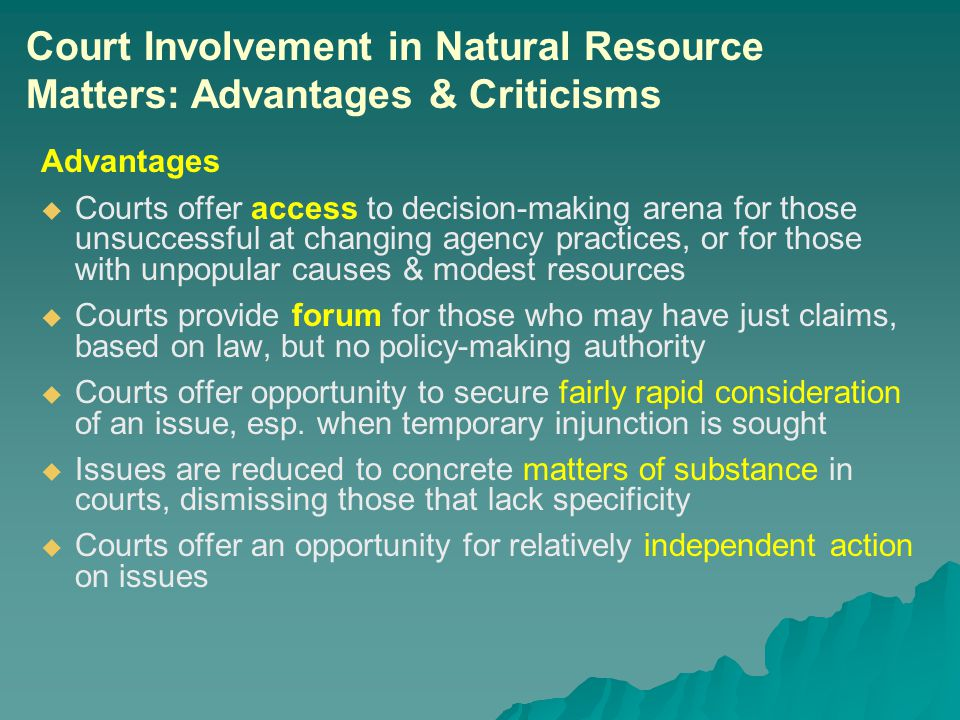 Advantages   Courts offer access to decision-making arena for those unsuccessful at changing agency practices, or for those with unpopular causes & modest resources   Courts provide forum for those who may have just claims, based on law, but no policy-making authority   Courts offer opportunity to secure fairly rapid consideration of an issue, esp.