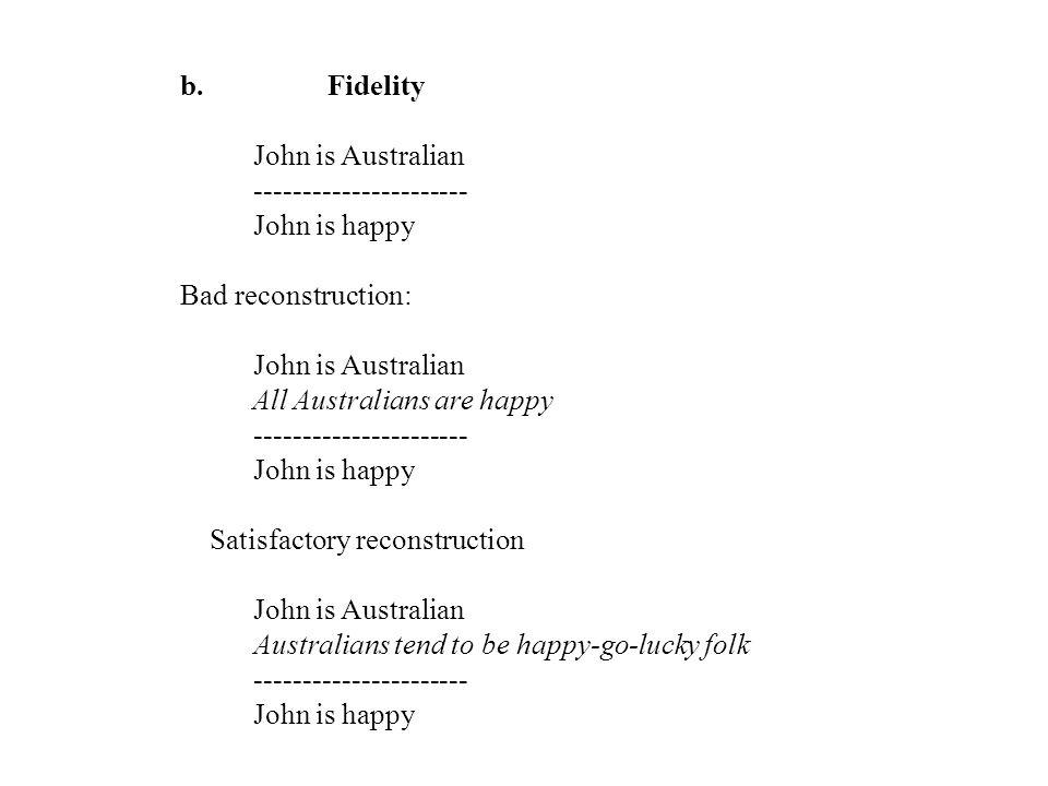 b. Fidelity John is Australian ---------------------- John is happy Bad reconstruction: John is Australian All Australians are happy -----------------