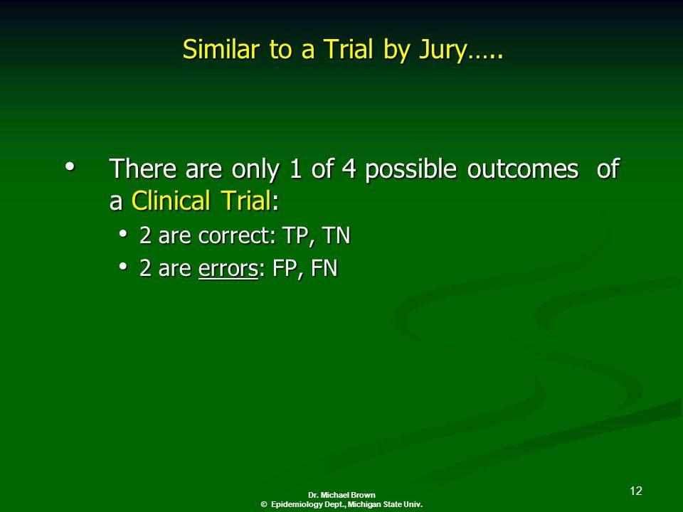 12 Dr. Michael Brown © Epidemiology Dept., Michigan State Univ.