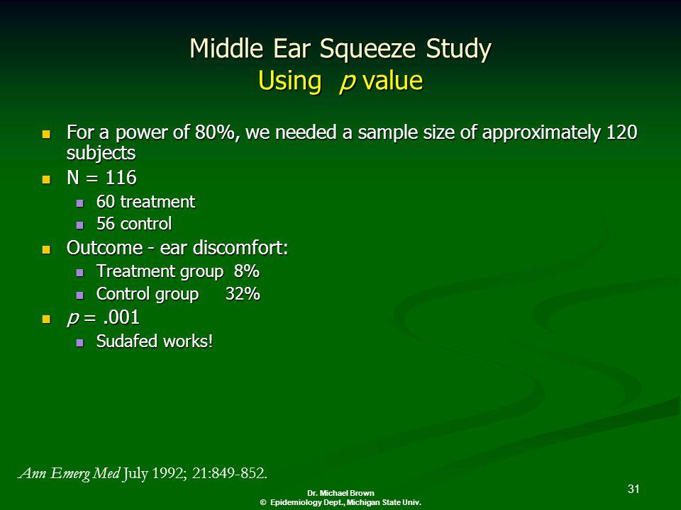 31 Dr. Michael Brown © Epidemiology Dept., Michigan State Univ.