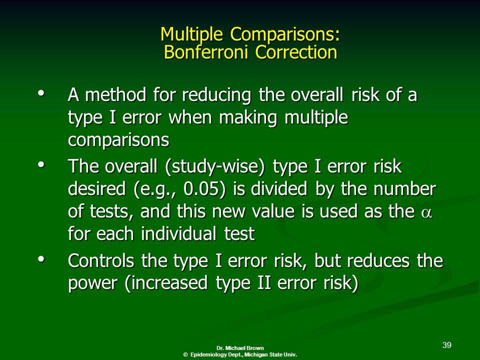 39 Dr. Michael Brown © Epidemiology Dept., Michigan State Univ.