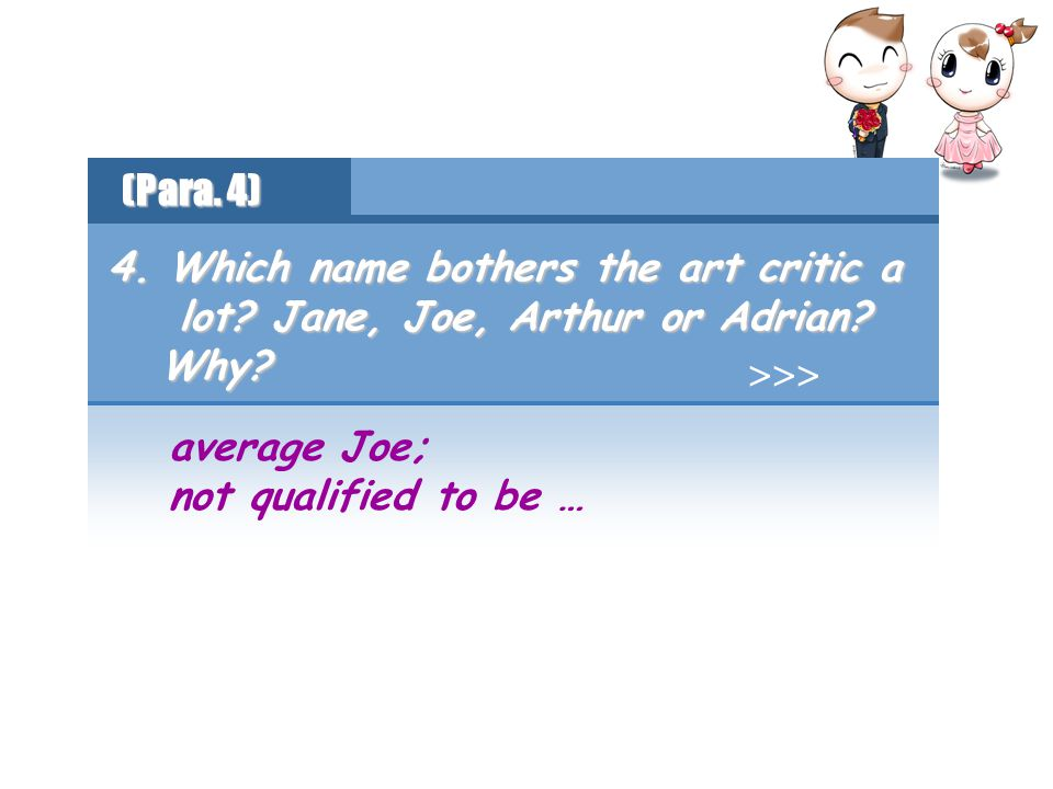 average Joe; not qualified to be … 4.Which name bothers the art critic a lot.