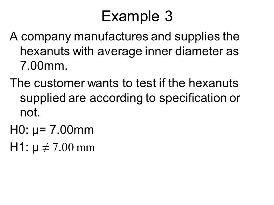 Example 3 A company manufactures and supplies the hexanuts with average inner diameter as 7.00mm.