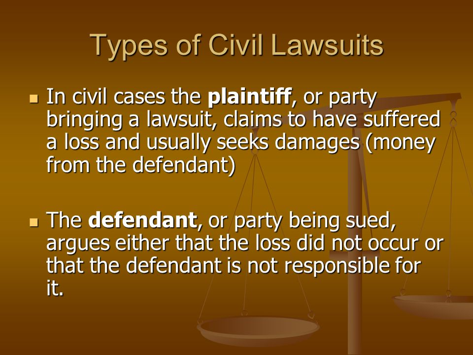 Types of Civil Lawsuits In civil cases the plaintiff, or party bringing a lawsuit, claims to have suffered a loss and usually seeks damages (money from the defendant) In civil cases the plaintiff, or party bringing a lawsuit, claims to have suffered a loss and usually seeks damages (money from the defendant) The defendant, or party being sued, argues either that the loss did not occur or that the defendant is not responsible for it.