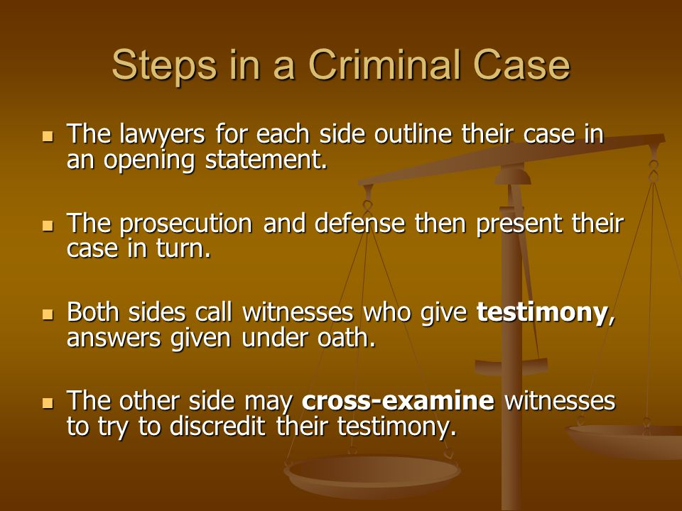 Steps in a Criminal Case The lawyers for each side outline their case in an opening statement.