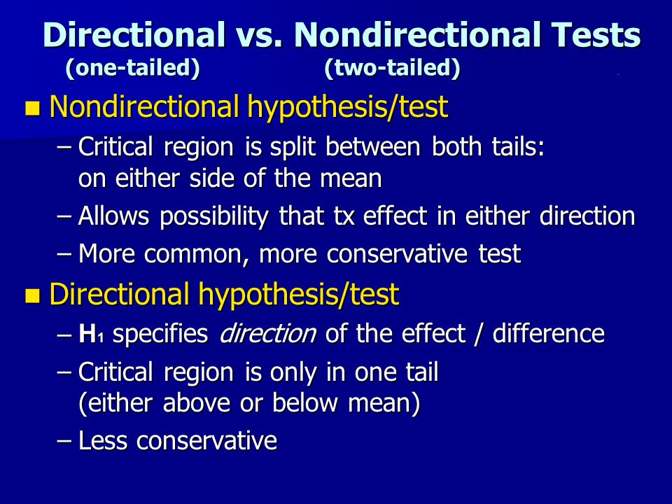 Directional vs.Nondirectional Tests (one-tailed) (two-tailed).