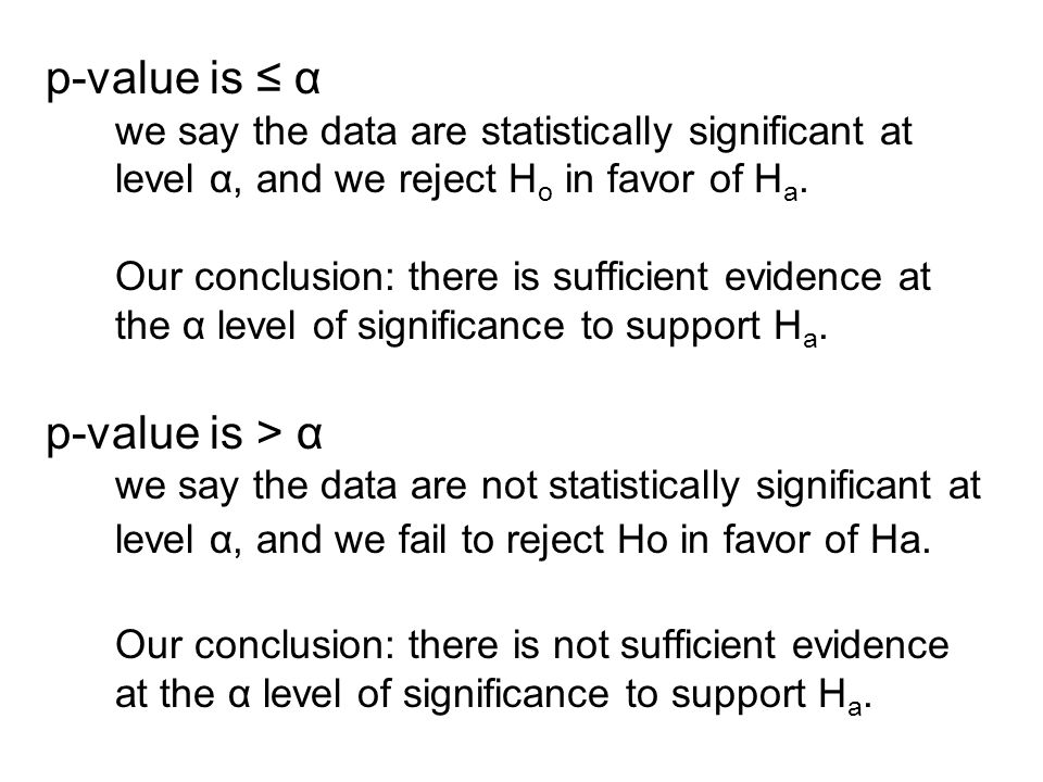 p-value is ≤ α we say the data are statistically significant at level α, and we reject H o in favor of H a.