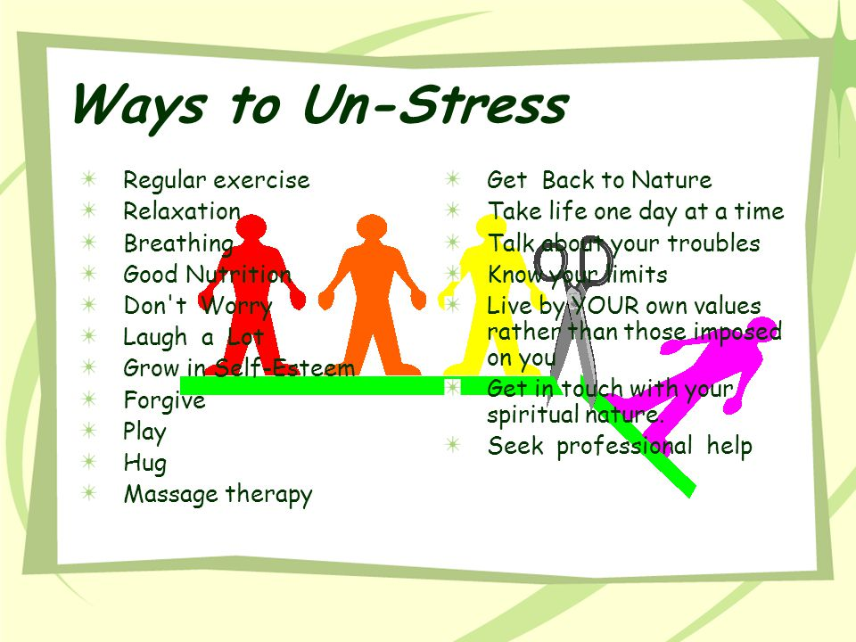 Ways to Un-Stress Regular exercise Relaxation Breathing Good Nutrition Don't Worry Laugh a Lot Grow in Self-Esteem Forgive Play Hug Massage therapy Ge