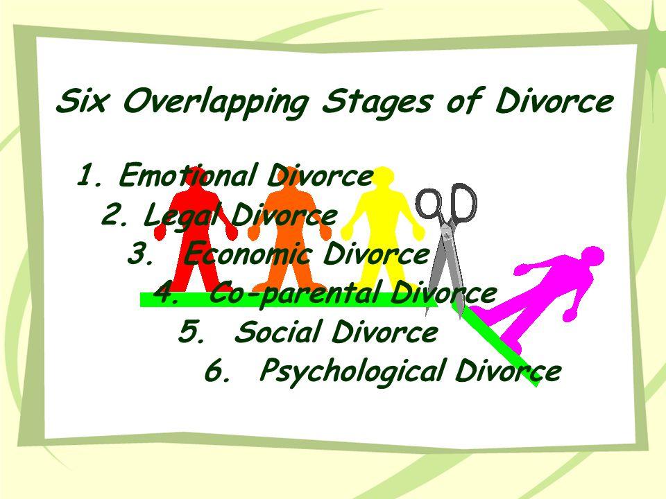 Six Overlapping Stages of Divorce 1. Emotional Divorce 2. Legal Divorce 3. Economic Divorce 4. Co-parental Divorce 5. Social Divorce 6. Psychological