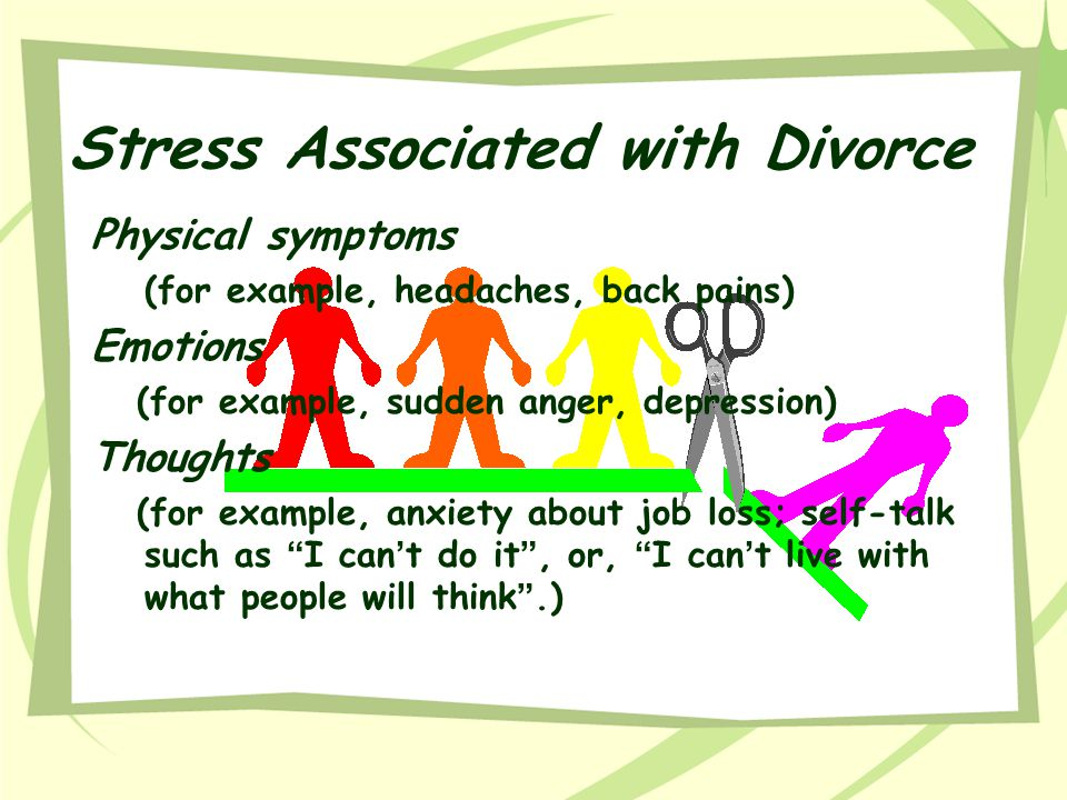 Stress Associated with Divorce Relationships (for example, withdrawal, fighting with the other parent, anger at children ' s demands).
