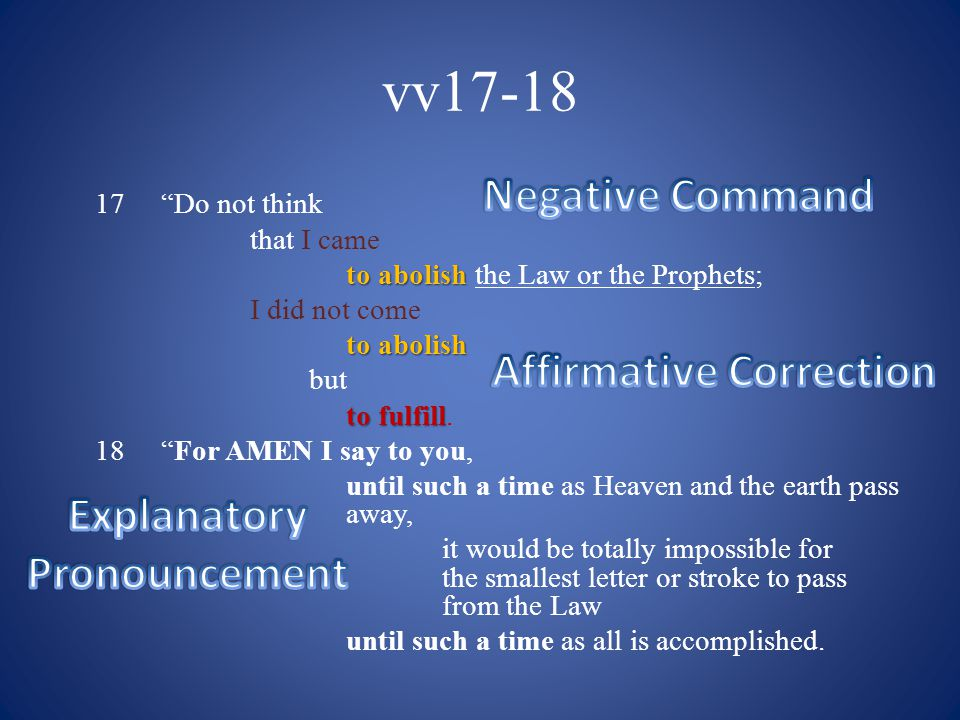 vv19-20 19 Whoever THEREFORE annuls one of the least of these commandments, and teaches others to do the same, shall be called least in the Kingdom of Heaven; BUT Whoever keeps and teaches them, he shall be called great in the Kingdom of Heaven.