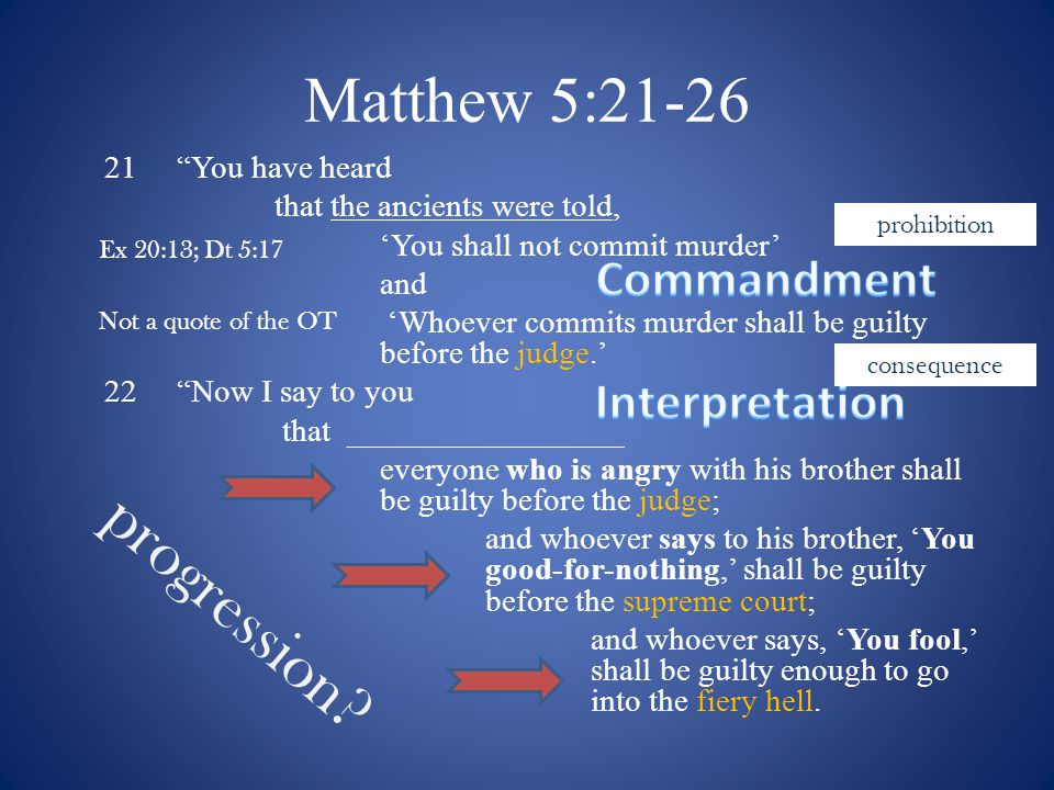 Murder and the Law 1.Jesus, like Solomon in Proverbs, chooses to explain why the commands were given.