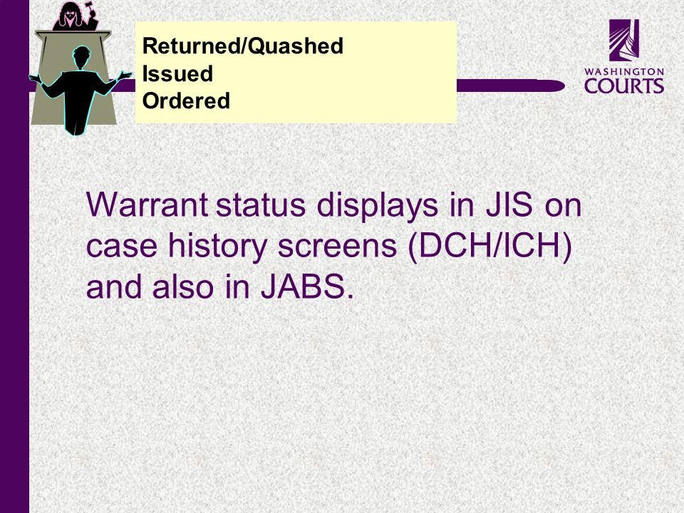 c Warrant status displays in JIS on case history screens (DCH/ICH) and also in JABS.