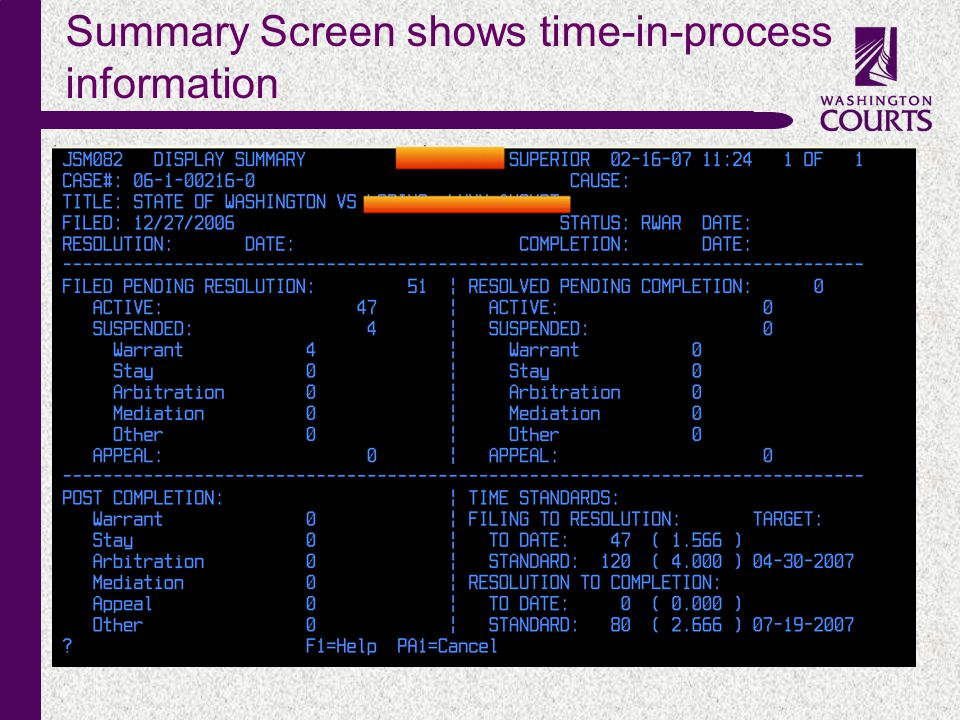 c Summary Screen shows time-in-process information