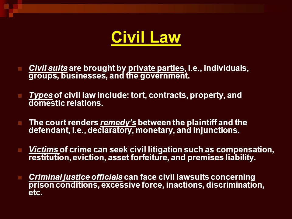 Civil Law Civil suits are brought by private parties, i.e., individuals, groups, businesses, and the government.
