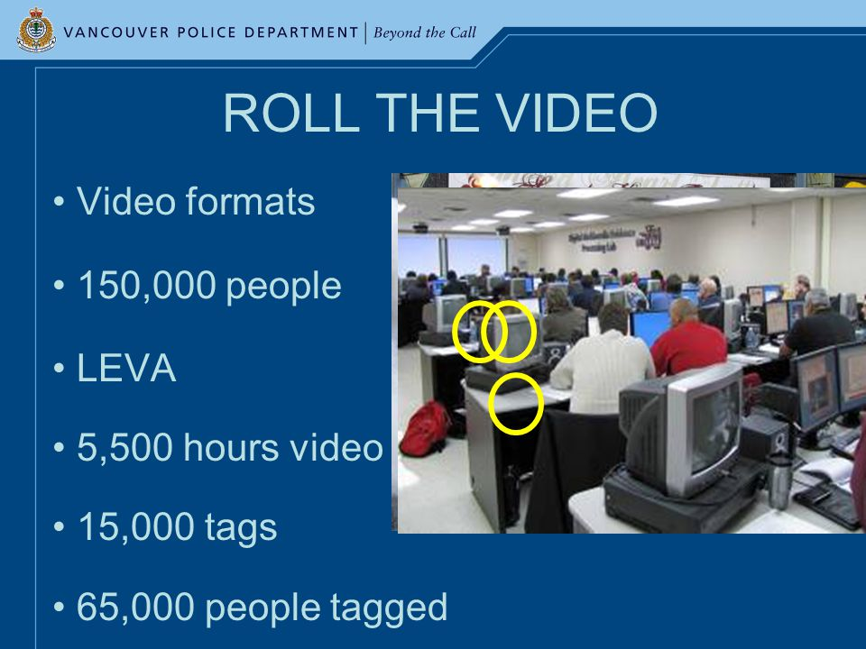 ROLL THE VIDEO Video formats 150,000 people LEVA 5,500 hours video 15,000 tags 65,000 people tagged