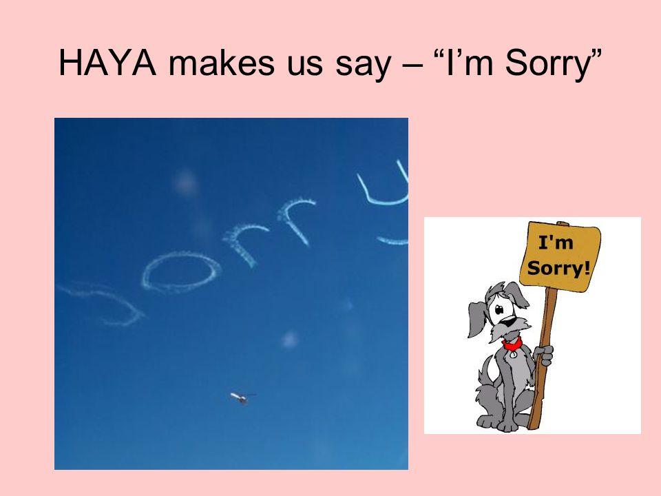 HAYA makes us say – I'm Sorry
