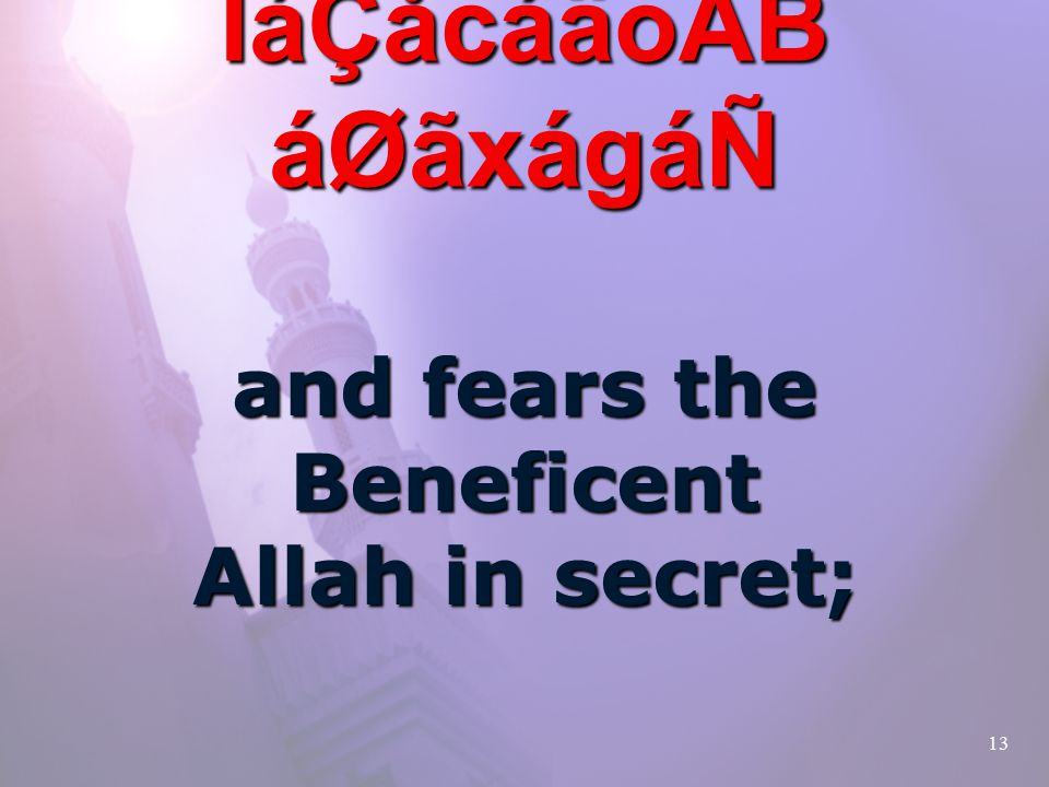 13 ãSå×á³åÂCãQ ÌáÇåcáäoÂB áØãxágáÑ and fears the Beneficent Allah in secret;