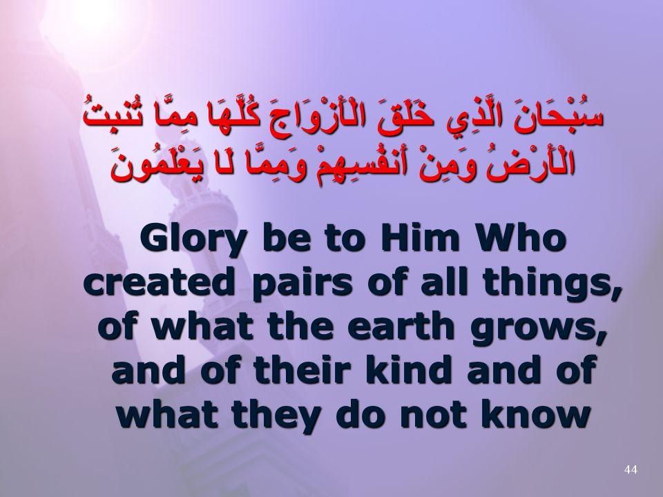 44 سُبْحَانَ الَّذِي خَلَقَ الْأَزْوَاجَ كُلَّهَا مِمَّا تُنبِتُ الْأَرْضُ وَمِنْ أَنفُسِهِمْ وَمِمَّا لَا يَعْلَمُونَ Glory be to Him Who created pairs of all things, of what the earth grows, and of their kind and of what they do not know
