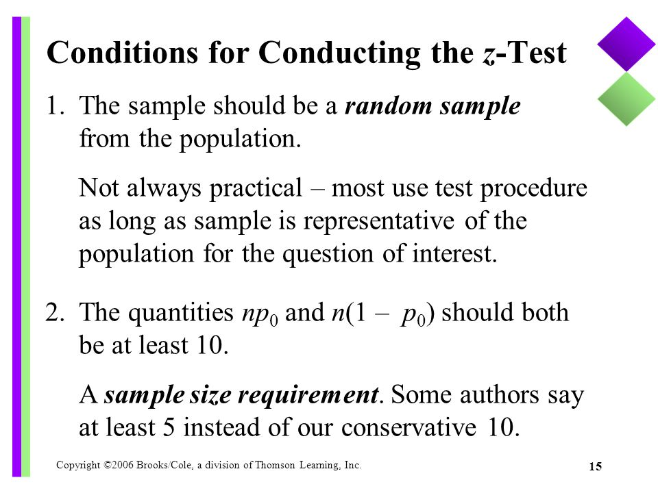 Copyright ©2006 Brooks/Cole, a division of Thomson Learning, Inc. 15 1. The sample should be a random sample from the population. Not always practical