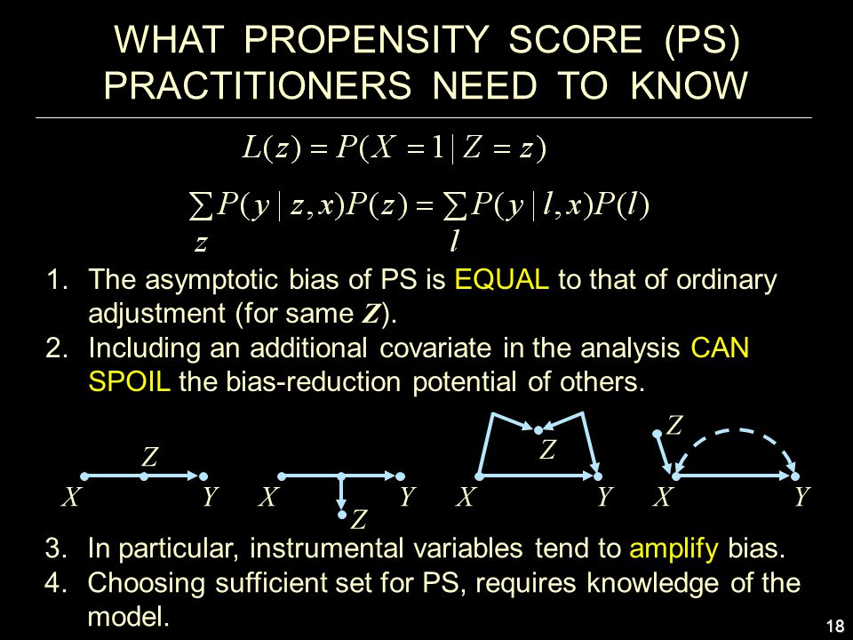 18 WHAT PROPENSITY SCORE (PS) PRACTITIONERS NEED TO KNOW 1.The asymptotic bias of PS is EQUAL to that of ordinary adjustment (for same Z ).