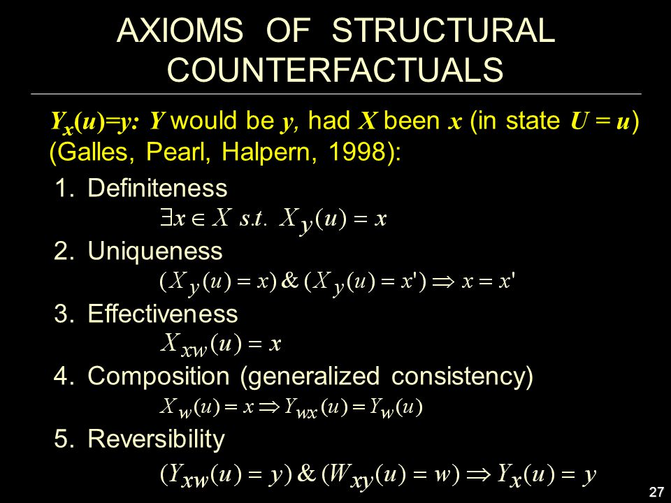 27 AXIOMS OF STRUCTURAL COUNTERFACTUALS 1.Definiteness 2.Uniqueness 3.Effectiveness 4.Composition (generalized consistency) 5.Reversibility Y x (u)=y: Y would be y, had X been x (in state U = u ) (Galles, Pearl, Halpern, 1998):