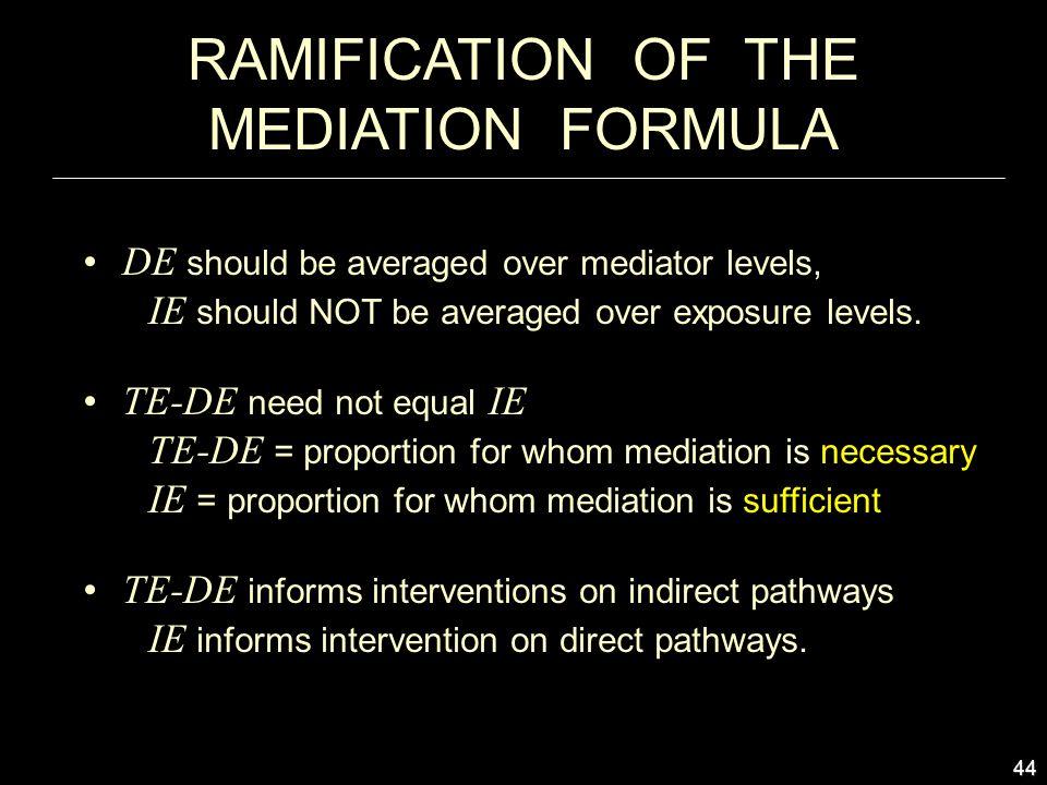44 RAMIFICATION OF THE MEDIATION FORMULA DE should be averaged over mediator levels, IE should NOT be averaged over exposure levels.