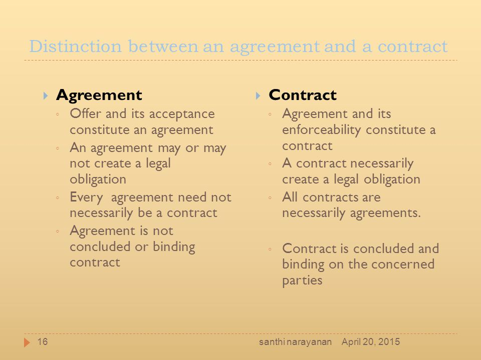 Distinction between an agreement and a contract  Agreement ◦ Offer and its acceptance constitute an agreement ◦ An agreement may or may not create a