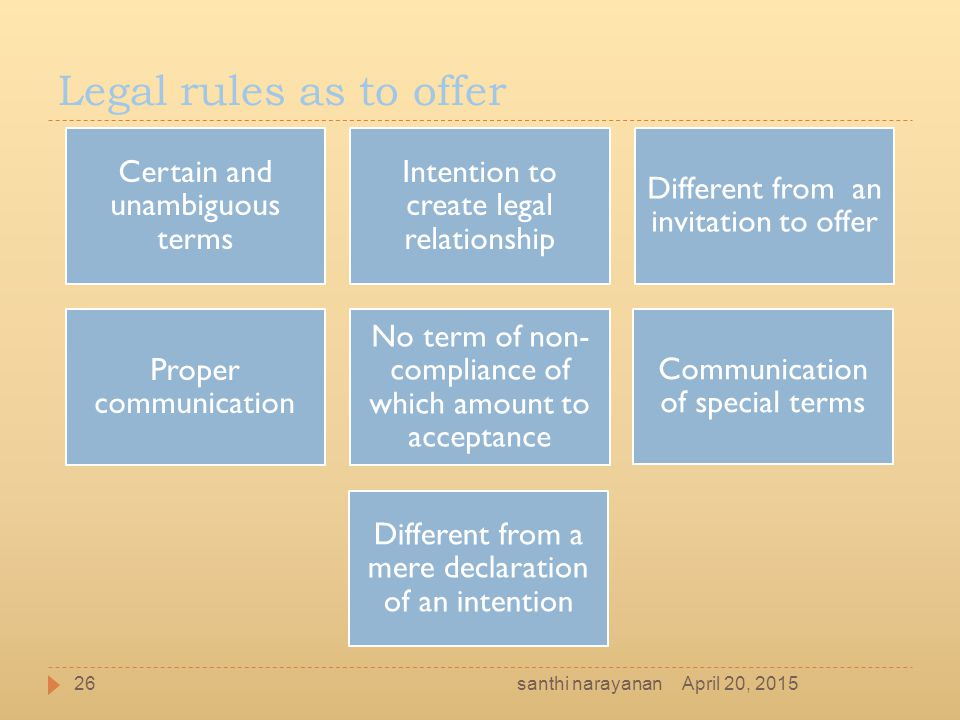 Legal rules as to offer Certain and unambiguous terms Intention to create legal relationship Different from an invitation to offer Proper communicatio