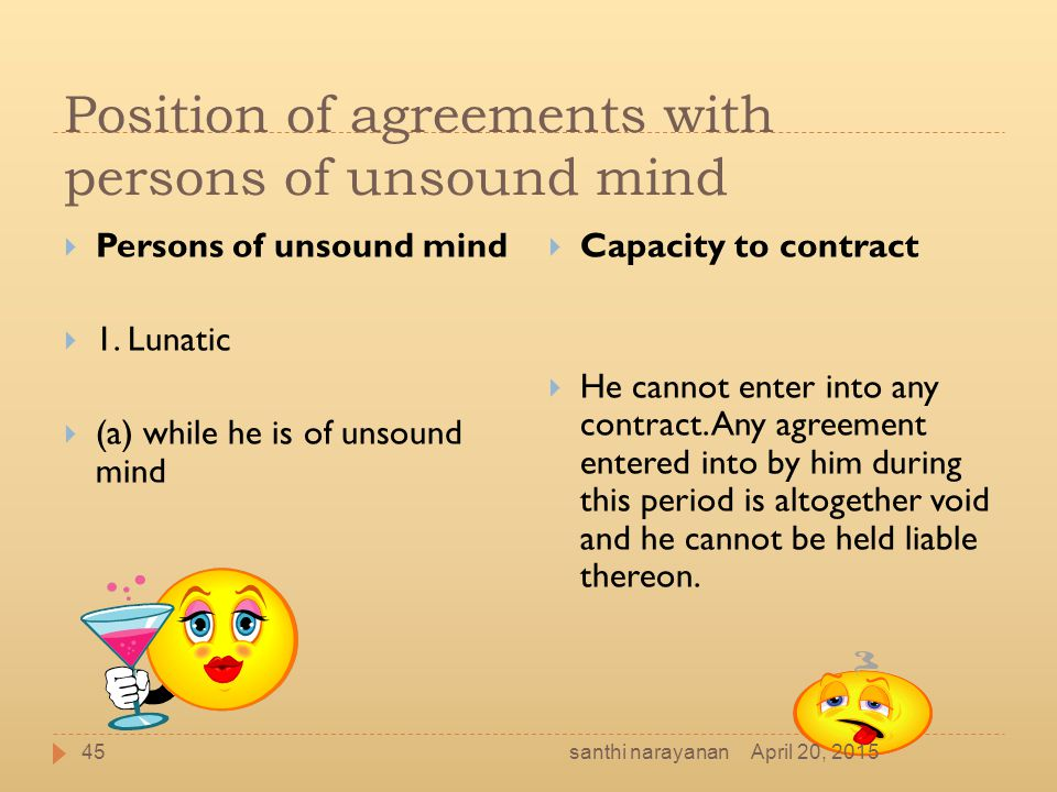 Position of agreements with persons of unsound mind  Persons of unsound mind  1. Lunatic  (a) while he is of unsound mind  Capacity to contract 