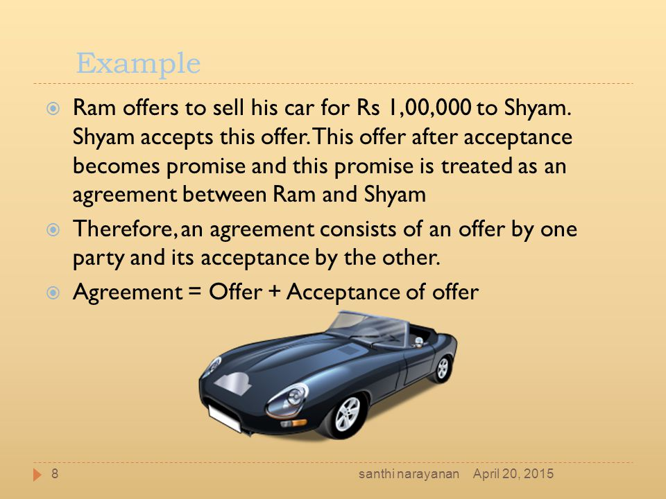 Example  Ram offers to sell his car for Rs 1,00,000 to Shyam. Shyam accepts this offer. This offer after acceptance becomes promise and this promise