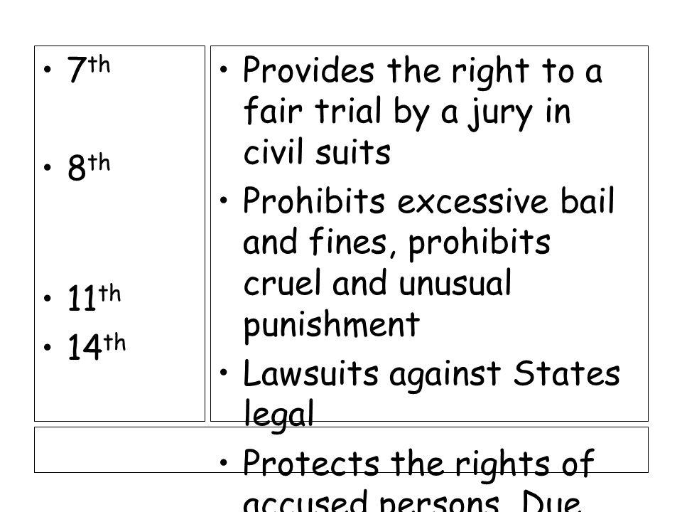 Amendments 4 th 5 th 6 th Prohibits unreasonable searches and seizures.