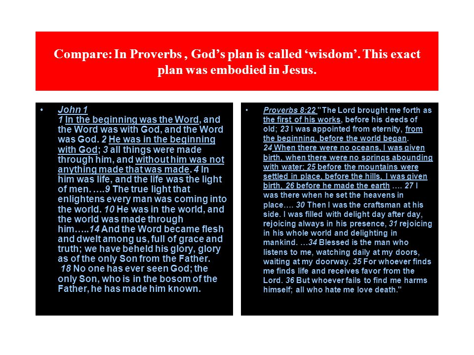 Compare: In Proverbs, God's plan is called 'wisdom'. This exact plan was embodied in Jesus. John 1 1 In the beginning was the Word, and the Word was w