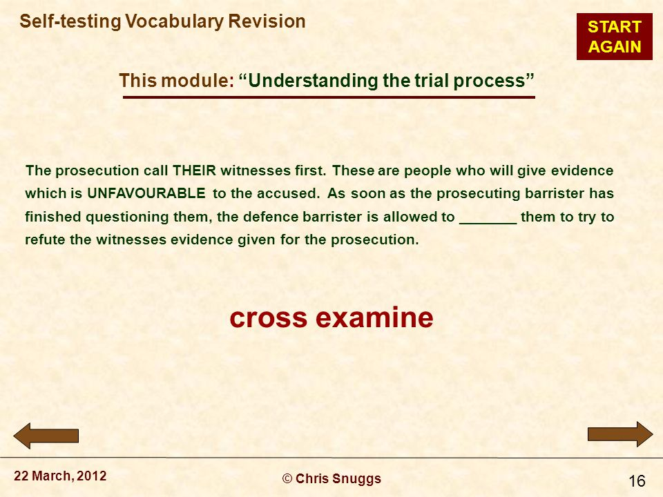 This module: Understanding the trial process © Chris Snuggs 22 March, 2012 Self-testing Vocabulary Revision 16 The prosecution call THEIR witnesses first.