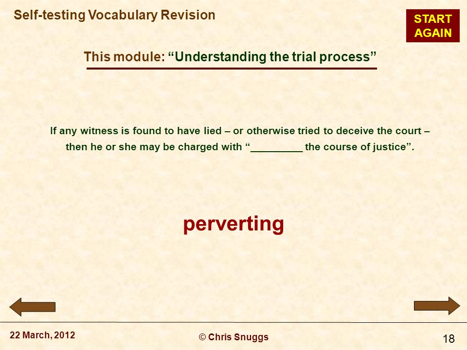 This module: Understanding the trial process © Chris Snuggs 22 March, 2012 Self-testing Vocabulary Revision 18 If any witness is found to have lied – or otherwise tried to deceive the court – then he or she may be charged with _________ the course of justice .
