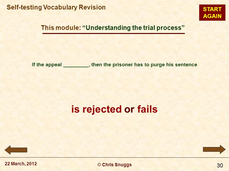 This module: Understanding the trial process © Chris Snuggs 22 March, 2012 Self-testing Vocabulary Revision 30 If the appeal _________, then the prisoner has to purge his sentence is rejected or fails START AGAIN