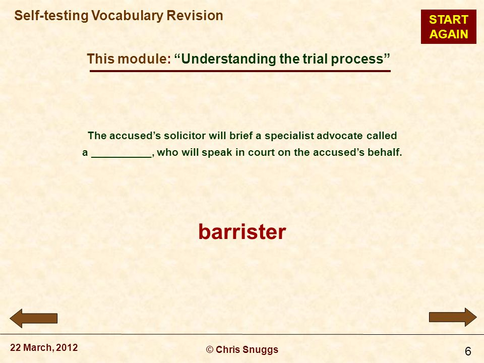 This module: Understanding the trial process © Chris Snuggs 22 March, 2012 Self-testing Vocabulary Revision 6 The accused's solicitor will brief a specialist advocate called a __________, who will speak in court on the accused's behalf.