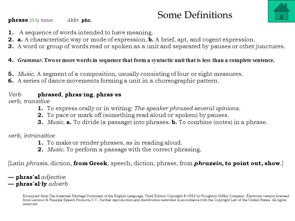 Some Definitions clause (klôz) noun Abbr.cl. 1. Grammar.