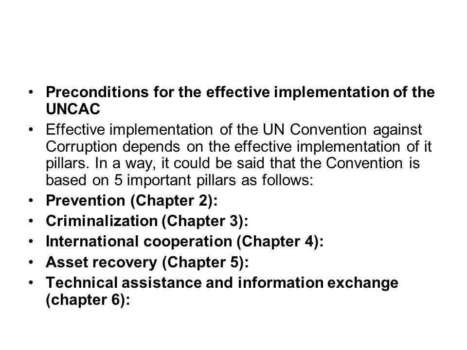The implementation of the Convention relies on the effective implementation of its pillars.