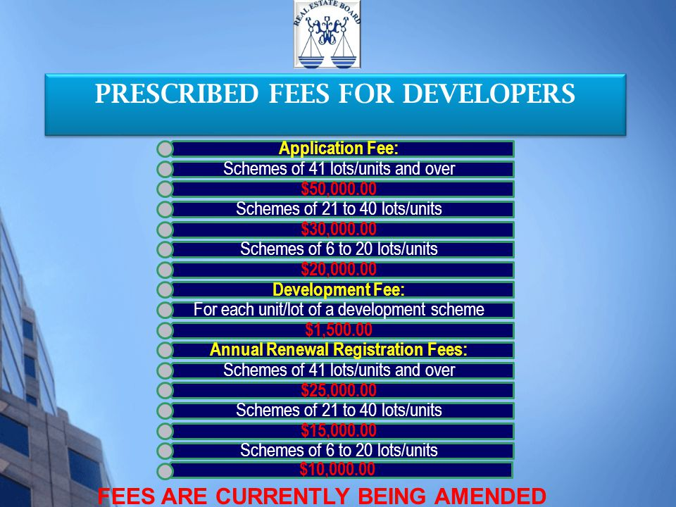 PRESCRIBED FEES FOR DEVELOPERS FEES ARE CURRENTLY BEING AMENDED Application Fee: Schemes of 41 lots/units and over $50,000.00 Schemes of 21 to 40 lots/units $30,000.00 Schemes of 6 to 20 lots/units $20,000.00 Development Fee: For each unit/lot of a development scheme $1,500.00 Annual Renewal Registration Fees: Schemes of 41 lots/units and over $25,000.00 Schemes of 21 to 40 lots/units $15,000.00 Schemes of 6 to 20 lots/units $10,000.00